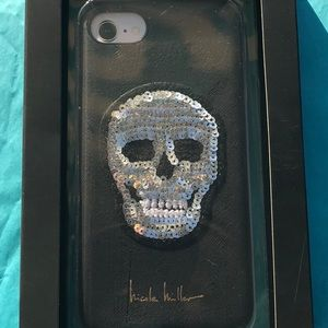 Nicole Miller iPhone Case with Sequined Skull NIB